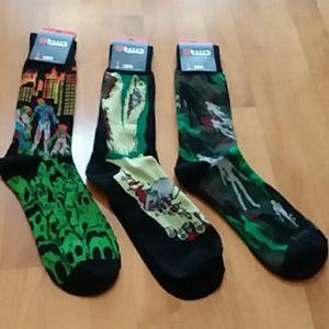 Lot of 3 Mens crazy crew socks ZOMBIES NWT